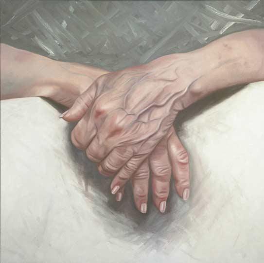Ans Markus, De pijn van oud, 120x120 cm, olieverf op linnen